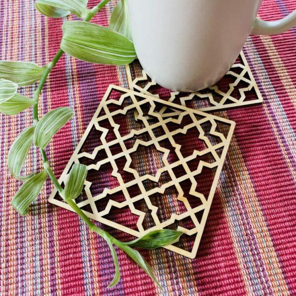 Geometric Plywood Coasters | Laser cut plywood coasters - product image 4
