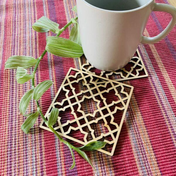 Geometric Plywood Coasters | Laser cut plywood coasters - product image 3