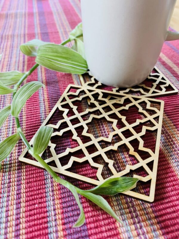 Geometric Plywood Coasters | Laser cut plywood coasters - product image 2