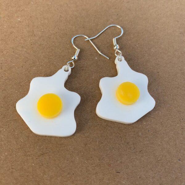 Fried Egg Earrings   Lasercut Acrylic Egg Earrings   Novelty Gift Earrings - product image 2