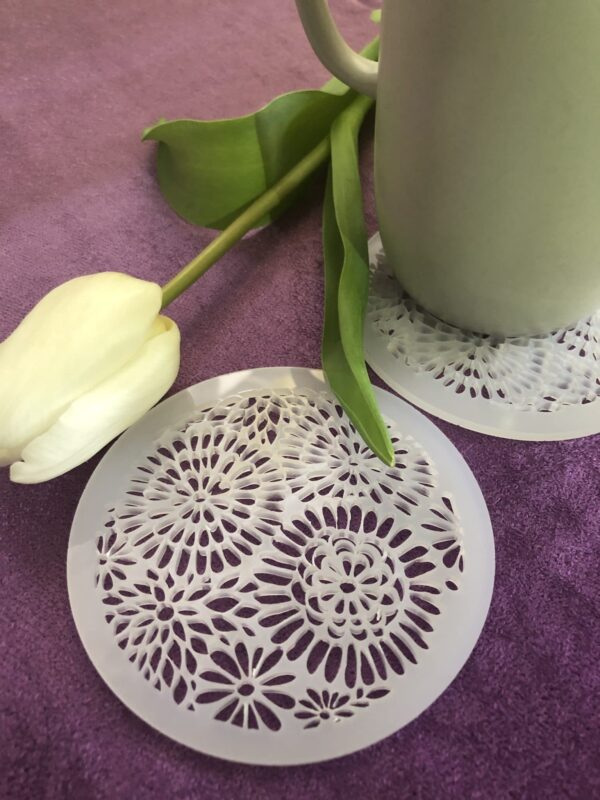 Floral Coasters   Laser cut acrylic coasters   Floral pattern - product image 2