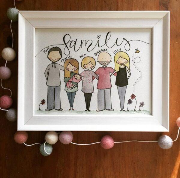 Bespoke, Hand Illustrated Family Portrait - main product image