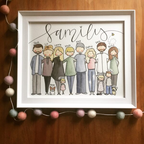 Bespoke, Hand Illustrated Family Portrait - product image 2