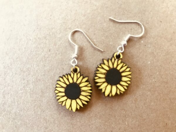 Sunflower Earrings | Lasercut Wood Flower Earrings | Novelty Gift Earrings - product image 4