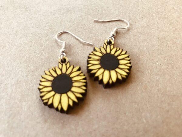 Sunflower Earrings | Lasercut Wood Flower Earrings | Novelty Gift Earrings - main product image