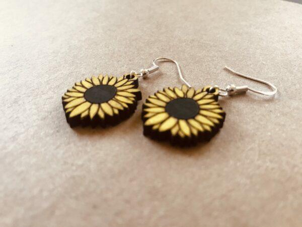 Sunflower Earrings | Lasercut Wood Flower Earrings | Novelty Gift Earrings - product image 3
