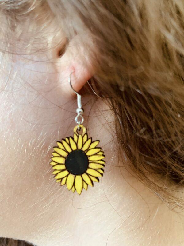 Sunflower Earrings | Lasercut Wood Flower Earrings | Novelty Gift Earrings - product image 5