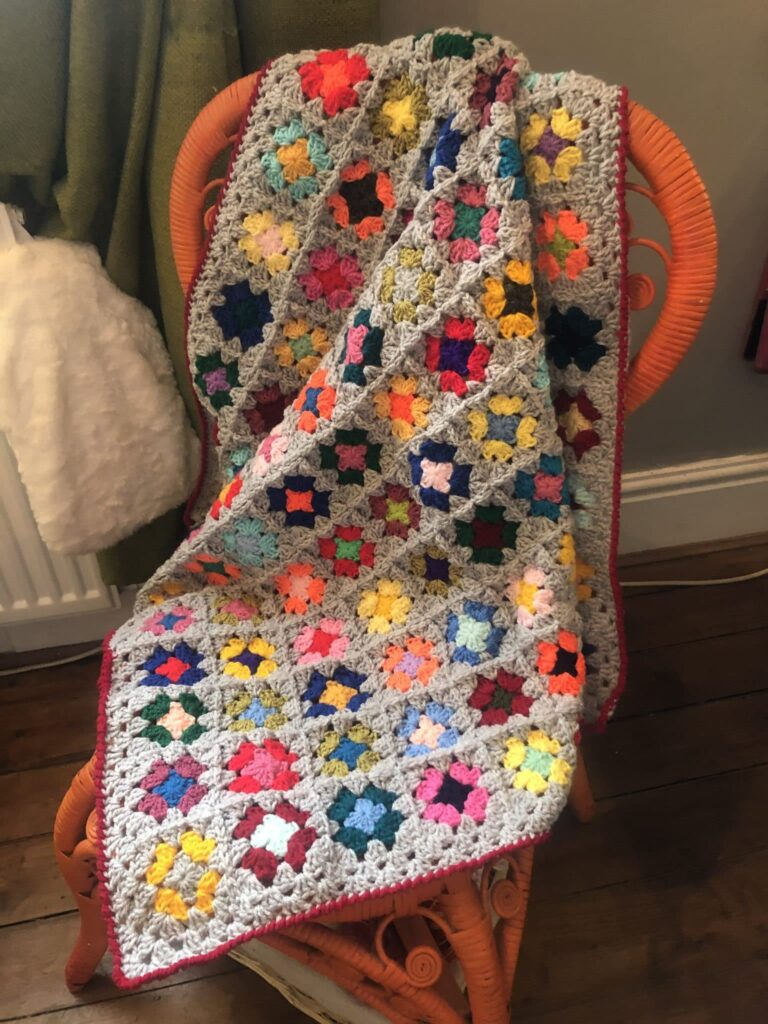Cuddle-up-Tight Grey Crochet Granny Square Snuggle Blanket - product image 2