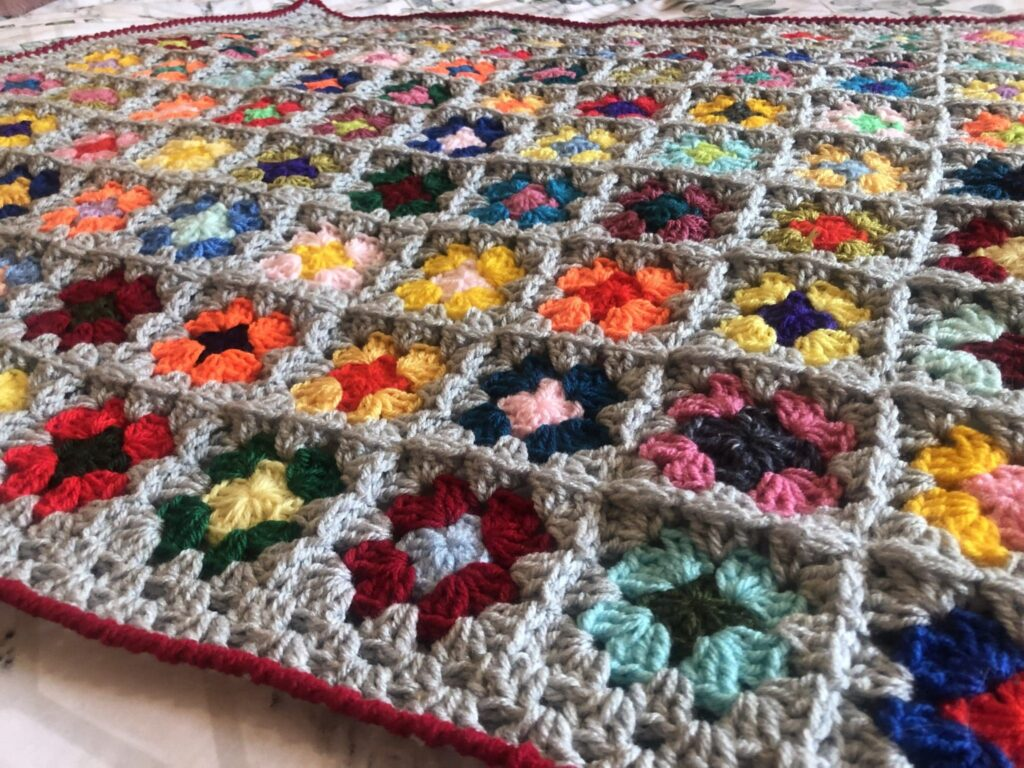 Cuddle-up-Tight Grey Crochet Granny Square Snuggle Blanket - product image 3