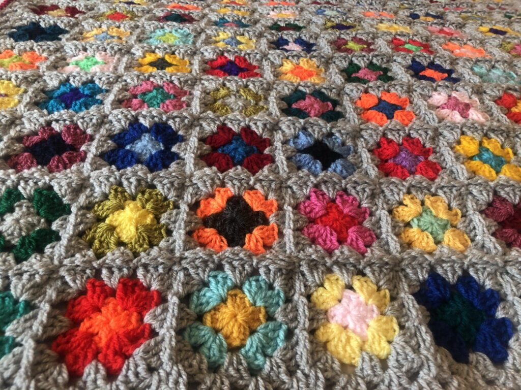 Cuddle-up-Tight Grey Crochet Granny Square Snuggle Blanket - product image 4