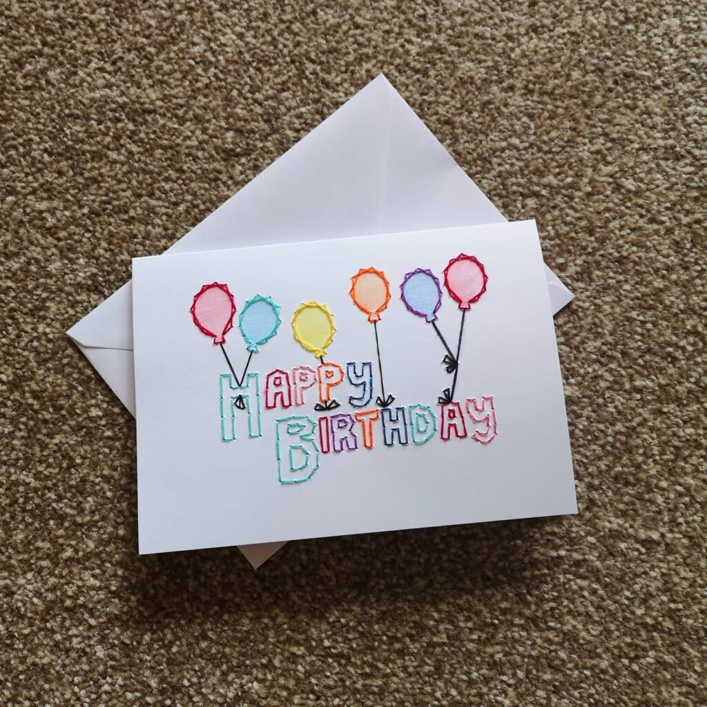 Handstitched Happy Birthday Balloons card - product image 2