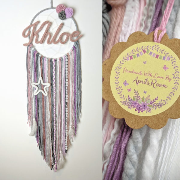 Personalised Name Dream Catcher Wall Hanging Nursery Bedroom - product image 2