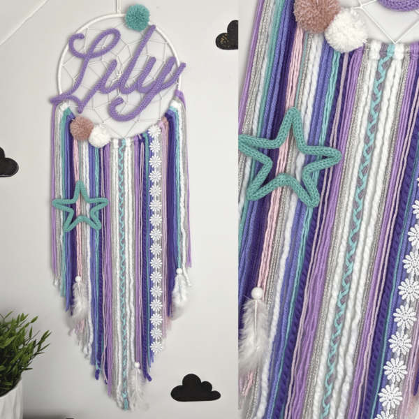 Personalised Name Dream Catcher Wall Hanging Nursery Bedroom - main product image