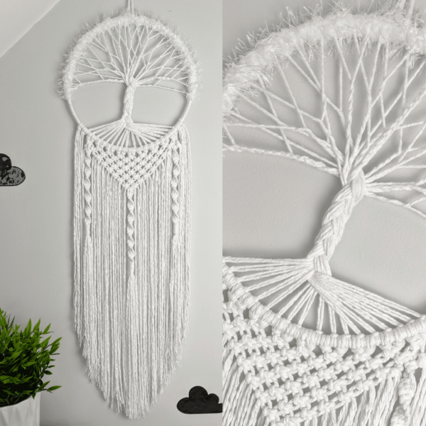 Tree of Life Macrame Wall Hanging White Boho - main product image