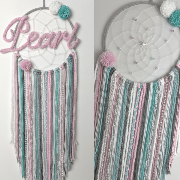 Frozen Dreamcatcher Personalised Pink Grey Blue Boho Wall Hanging - main product image