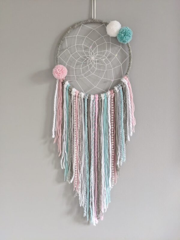 Frozen Dreamcatcher Personalised Pink Grey Blue Boho Wall Hanging - product image 3