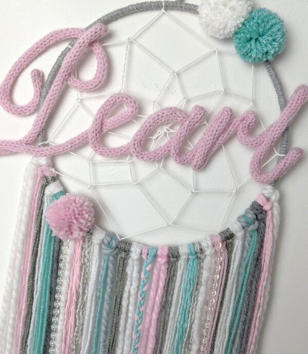 Frozen Dreamcatcher Personalised Pink Grey Blue Boho Wall Hanging - product image 5