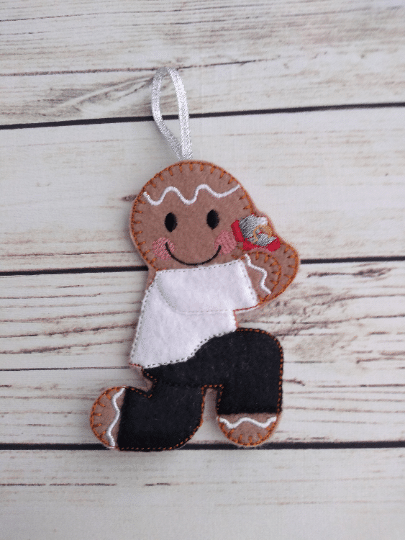 Marriage proposal gingerbread man, Christmas engagement tree decoration - main product image