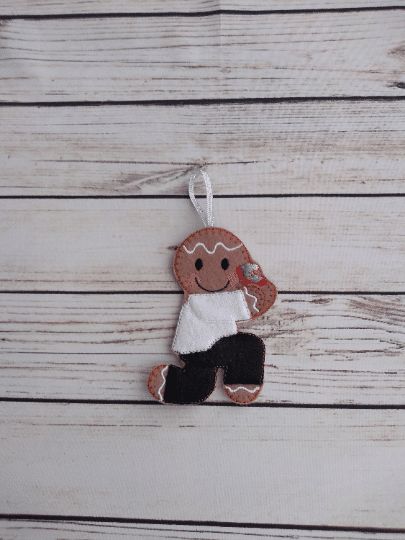 Marriage proposal gingerbread man, Christmas engagement tree decoration - product image 2