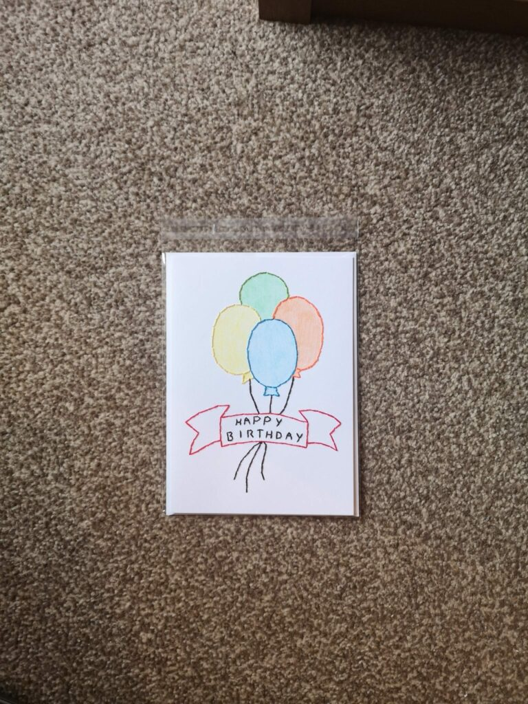 Handstitched Happy Birthday Balloons card - product image 5