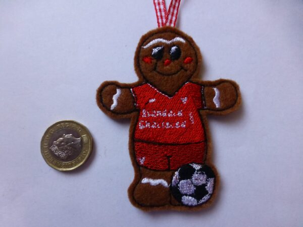 Hanging decoration gingerbread man footballer wearing Liverpool colours - main product image