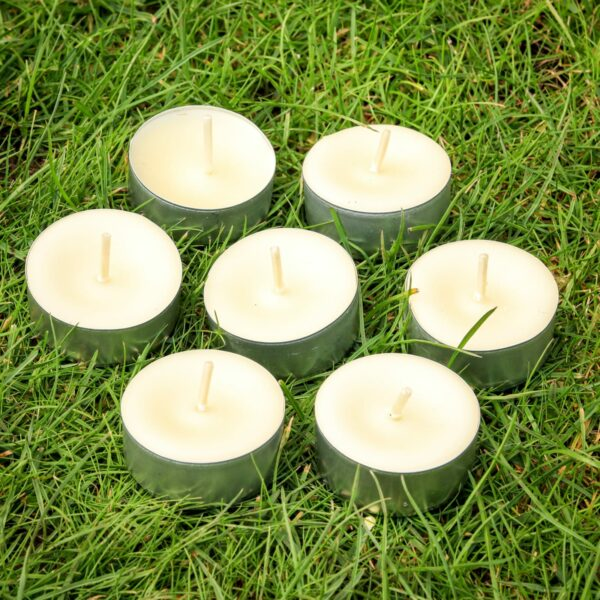 12 White beeswax tealights – pure Welsh wax - main product image