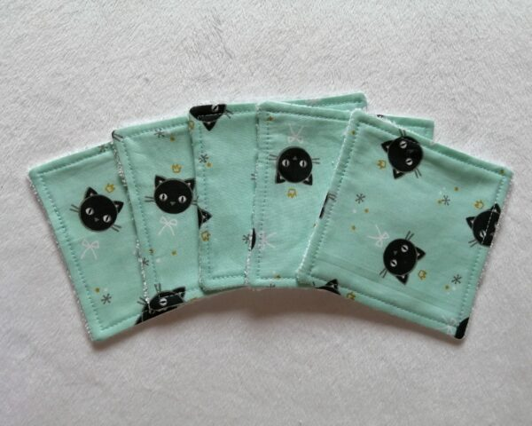Reusable bamboo wipes, make up remover wipes, black cats - product image 3