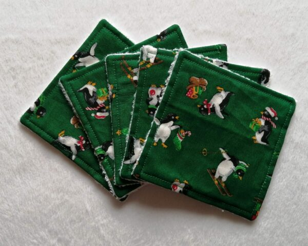 Reusable bamboo wipes, make up remover wipes, festive penguins - main product image