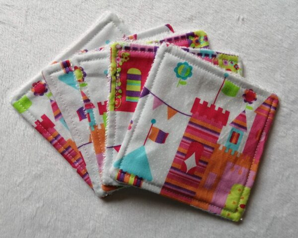 Reusable bamboo wipes, make up remover wipes, fairytale castle - main product image