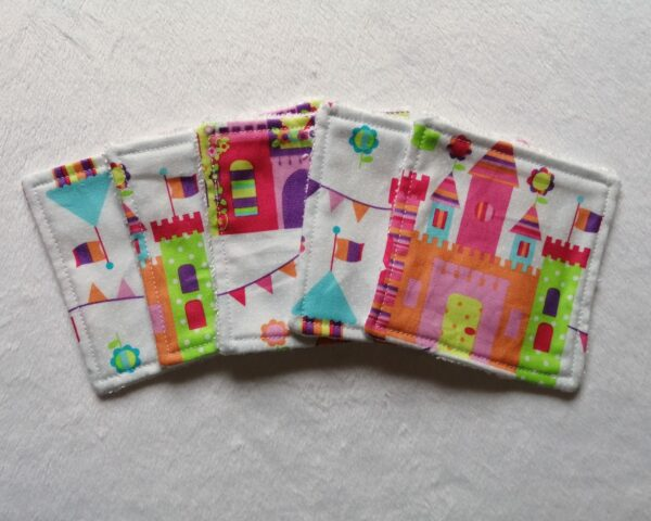 Reusable bamboo wipes, make up remover wipes, fairytale castle - product image 2