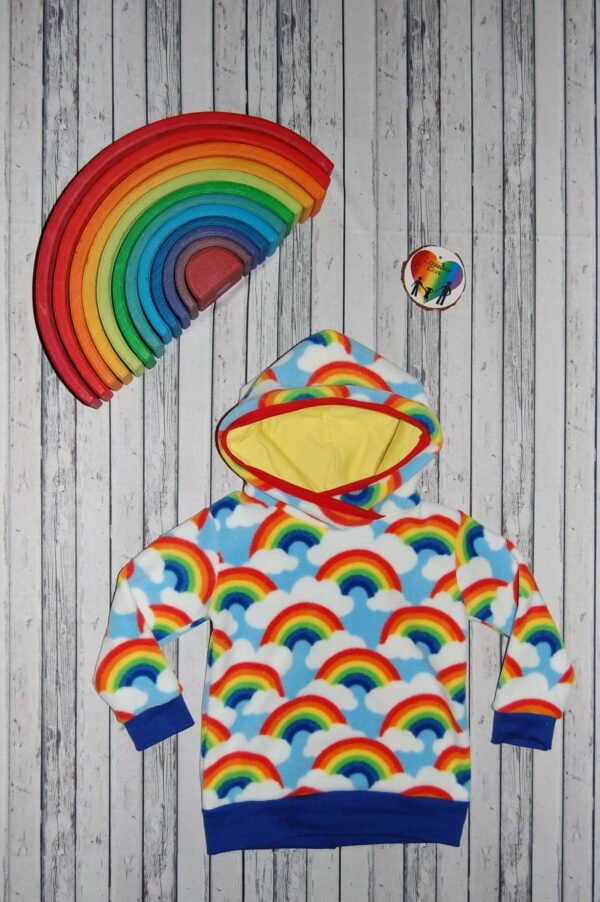 Rainbow Fleece Warm Hooded Top. (Ready made) Size 1 year - main product image