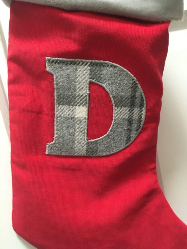 Personalised Red/Grey Tartan Initial Christmas Stocking - product image 3
