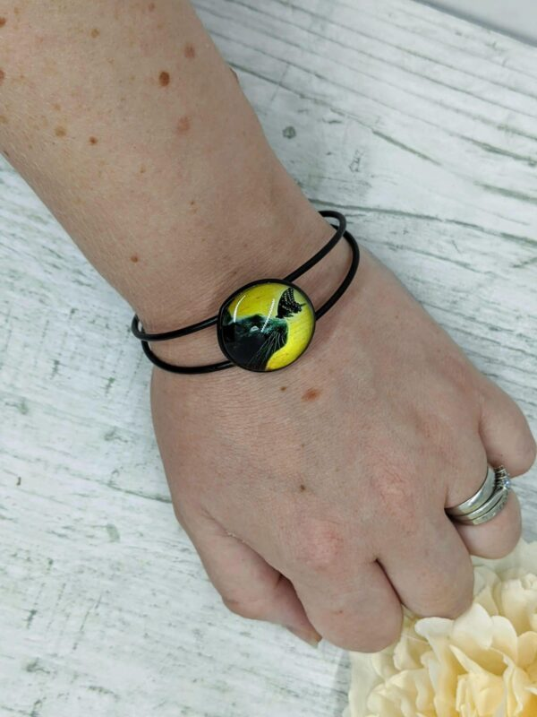 Black Cat Bangle Bracelet, Full Moon and Butterfly - product image 5