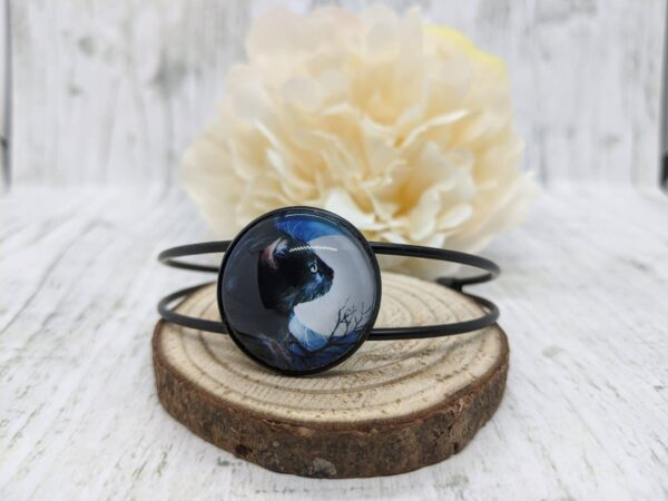 Black Cat Bangle Bracelet, Full Moon and Butterfly - product image 2