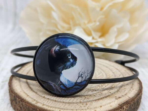 Black Cat Bangle Bracelet, Full Moon and Butterfly - main product image