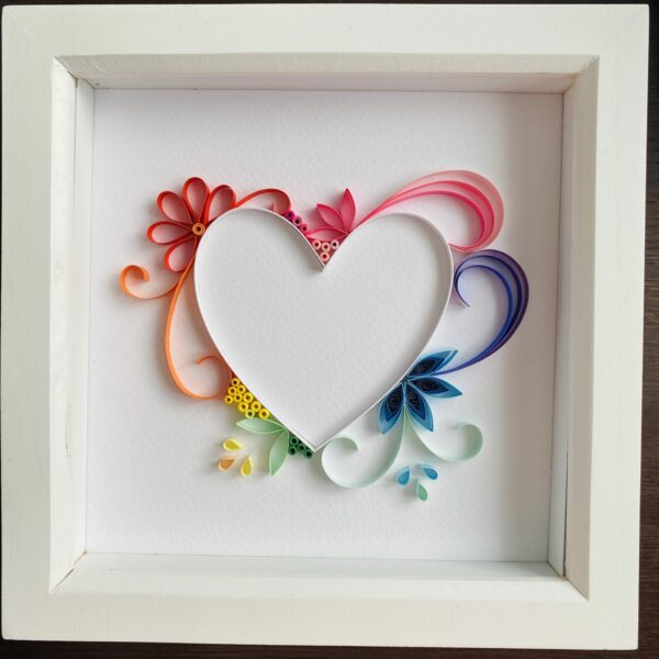 Rainbow Heart quilling art, Great Wall art, anniversary gift - main product image