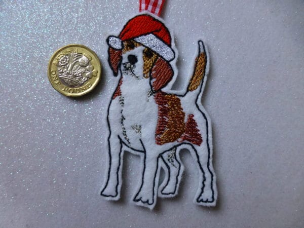 Christmas tree decoration Beagle in Santa hat - main product image