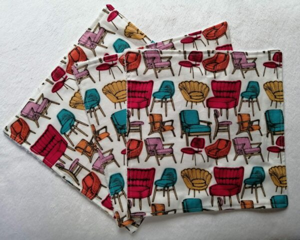 Reusable kitchen wipes – retro chairs - main product image