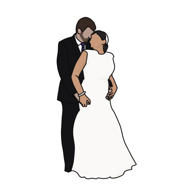 Personalised couples faceless portrait stickers – pack of 2 – Valentine's Day gift for laptop, phone - main product image