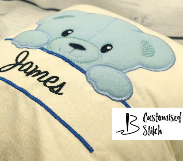 Baby Boy Teddy Bear Embroidered Cushion - product image 2