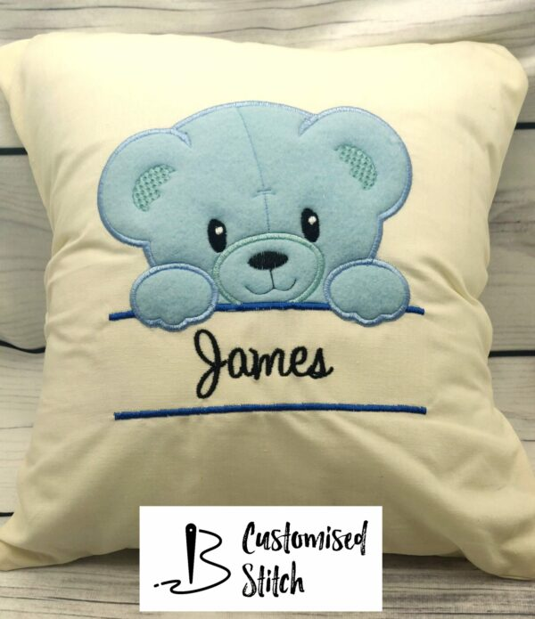 Baby Boy Teddy Bear Embroidered Cushion - main product image