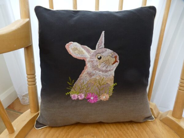 Cushion cover – embroidered rabbit - main product image
