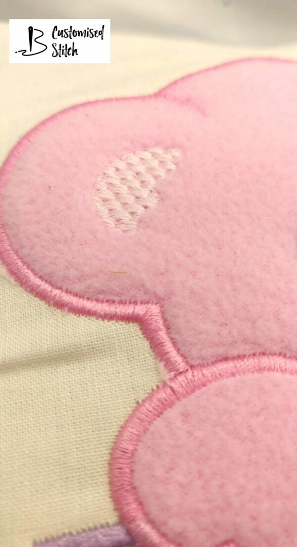 Baby Girl Teddy Bear Embroidered Cushion - product image 4