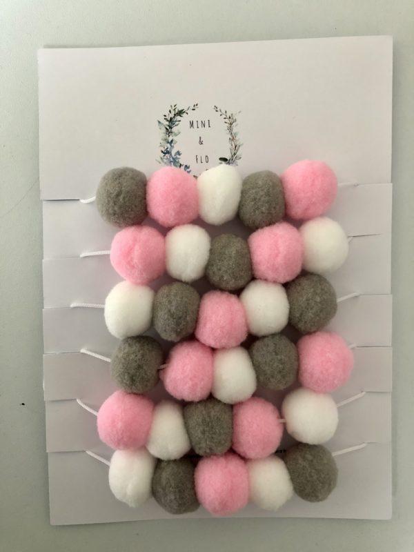 Pink Grey White Pom Pom Garland - main product image
