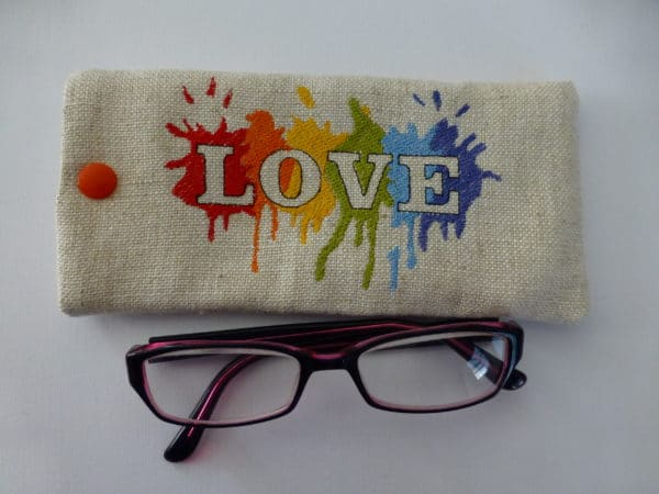 Glasses case – soft embroidered LGBT rainbow, pride Love - main product image