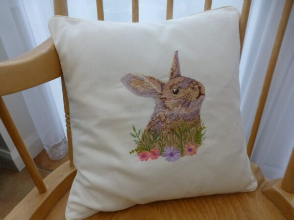Embroidered Rabbit Cushion Cover - main product image