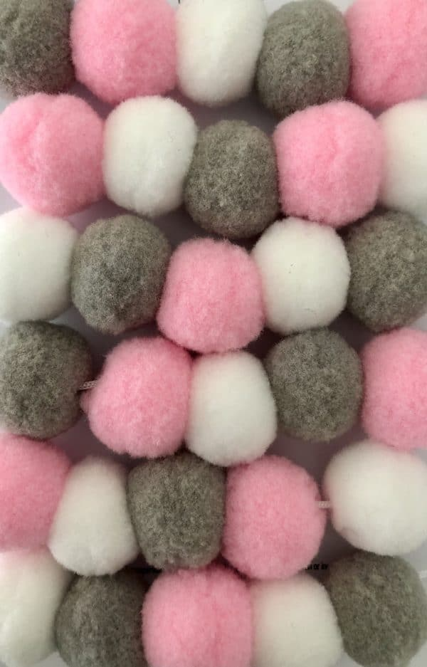 Pink Grey White Pom Pom Garland - product image 3
