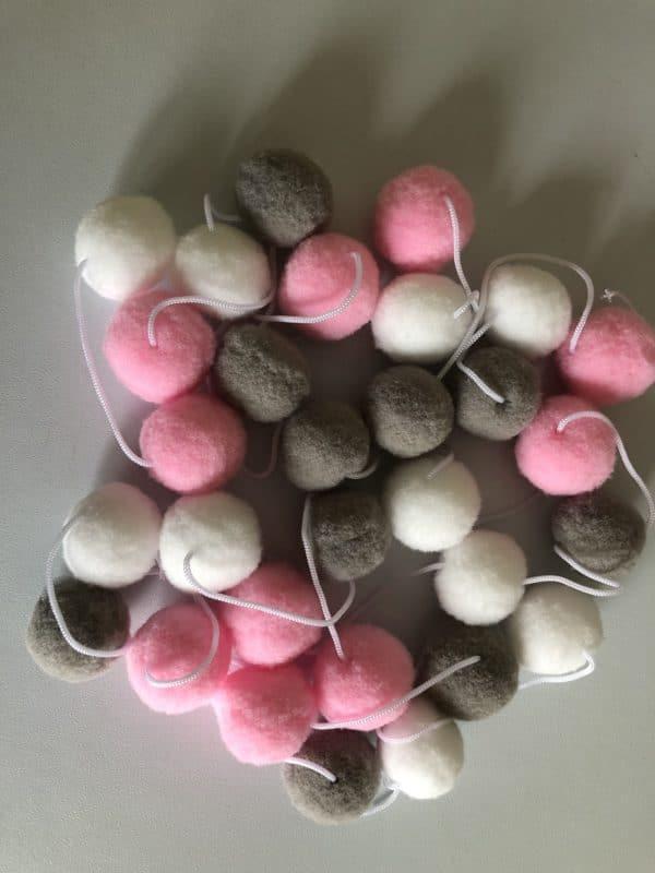 Pink Grey White Pom Pom Garland - product image 2