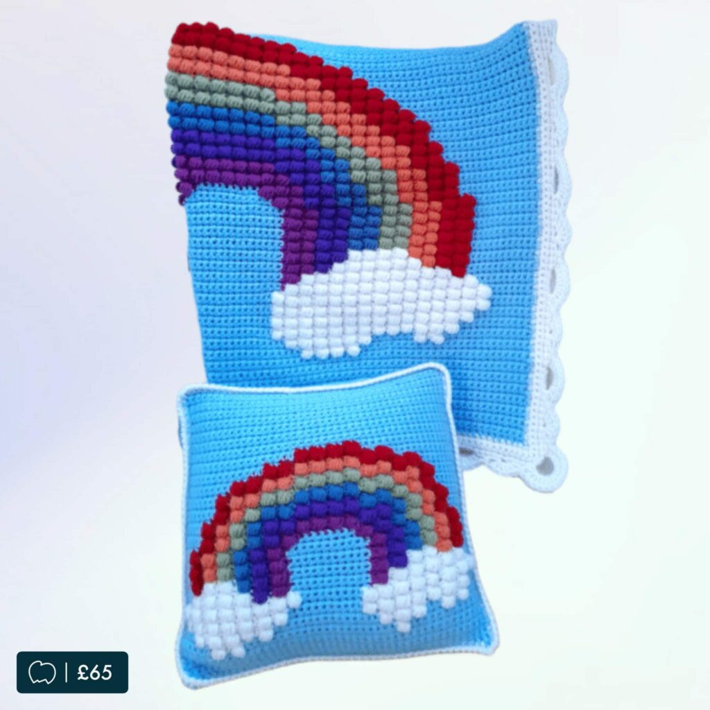 Rainbow Puff Blanket and Pillow Matching Set
