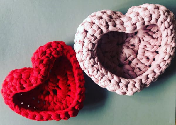 Handmade Crochet Love Heart Bowl. Red or Pink & 2 sizes available. - main product image